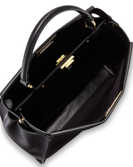 Selleria Peekaboo Large Leather Satchel Bag, Black