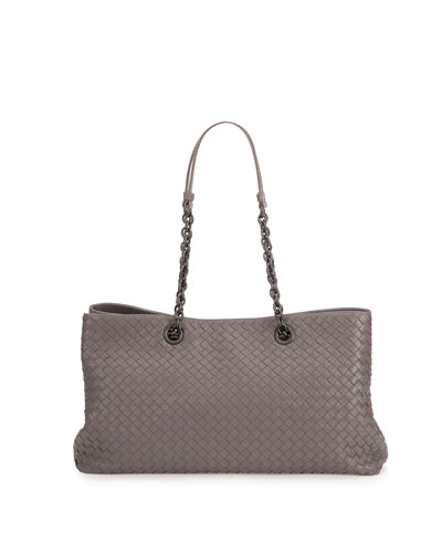 Double-Chain Woven Tote Bag, Gray