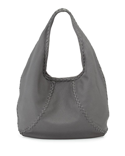 Cervo Medium Open-Shoulder Hobo Bag, Gray