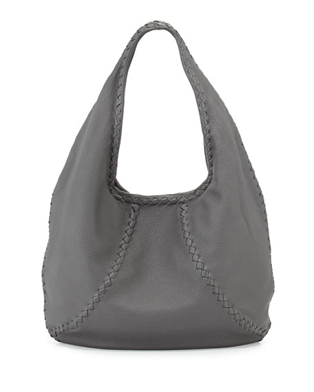 a8ee26223fa0 Bottega Veneta Cervo Medium Open-Shoulder Hobo Bag, Gray