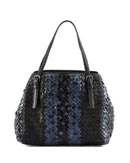 Medium Intrecciato Snakeskin Tote Bag, Black/Navy
