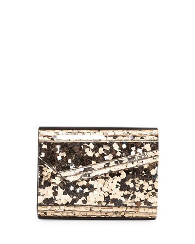 Candy Bicolor Glitter Clutch Bag