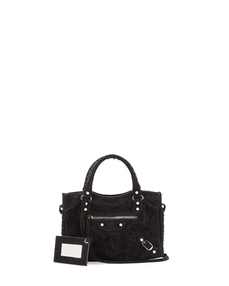 Mini City Shearling Fur Bag, Black