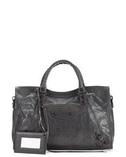 Classic Town Leather Bag, Medium Gray