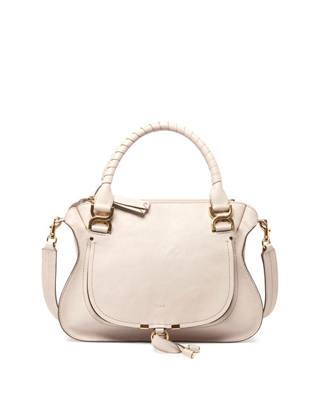 Chloe Marcie Double-Carry Satchel Bag, Beige