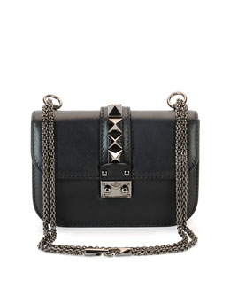 Rockstud Flap Small Shoulder Bag, Black
