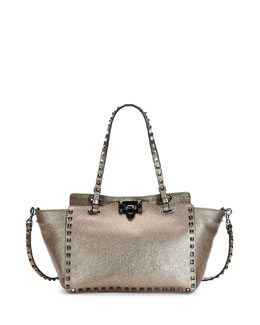 Rockstud Metallic East-West Tote Bag