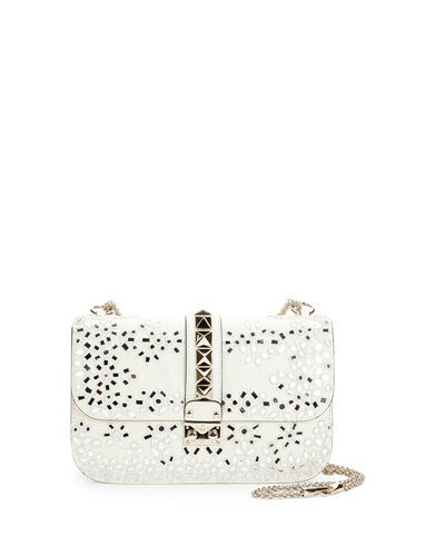 Rockstud Floral Embroidered Mirror Shoulder Bag