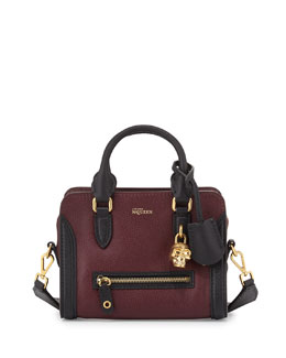 Bicolor Skull Padlock Mini Satchel, Black/Olive