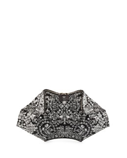 De-Manta Rhinestone-Print Leather Clutch Bag