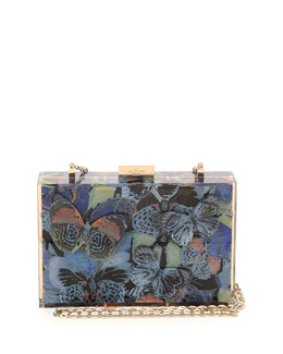 Camu Butterfly-Print Box Clutch Bag