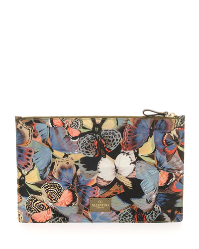 Butterfly-Print Zip Pouch