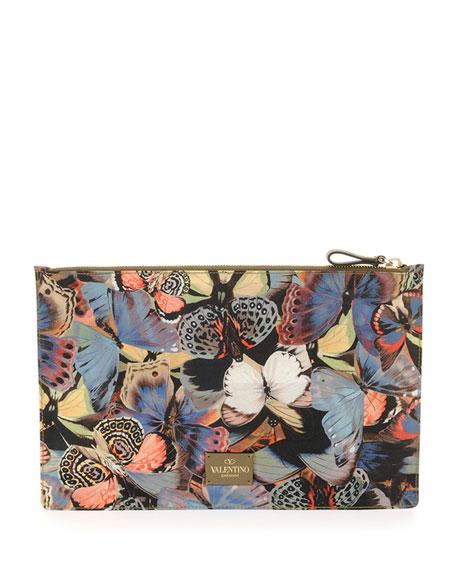 Butterfly-Print Zip Pouch