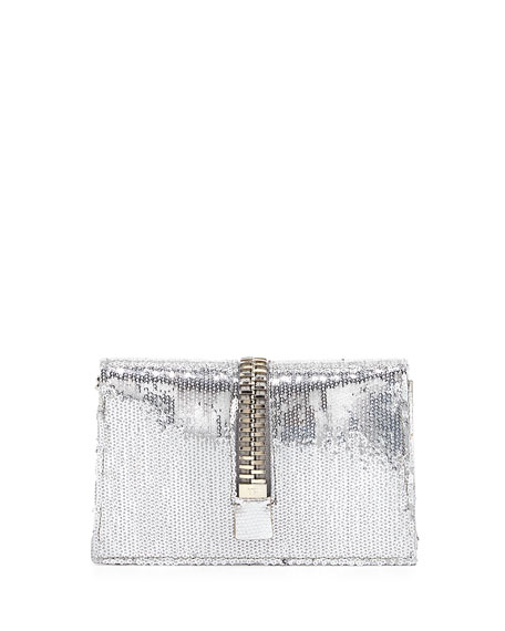 Sequin Large-Zip Detail Clutch Bag, Silver