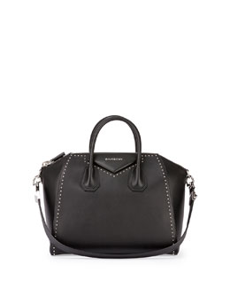 Antigona Medium Studded Satchel Bag, Black