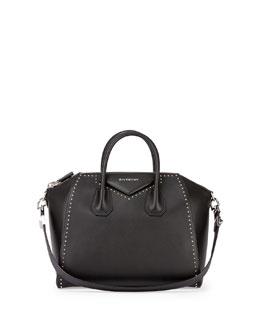 Antigona Medium Studded Satchel Bag, Black