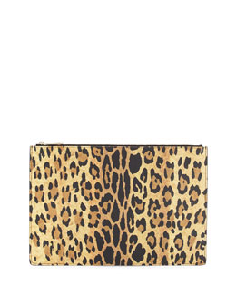 Leopard-Print Leather Large Clutch Bag