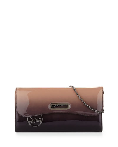Riviera Patent Degrade Evening Clutch Bag, Tan