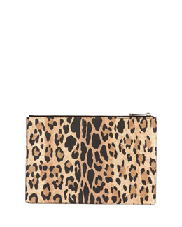 Leopard-Print Coated Canvas Zip Pouch