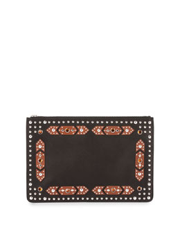 Iconic Crystal Geometric-Embellished Zip Pouch