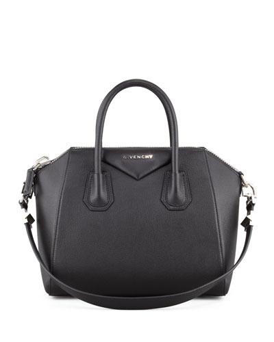 Antigona Small Sugar Goatskin Satchel Bag, Black