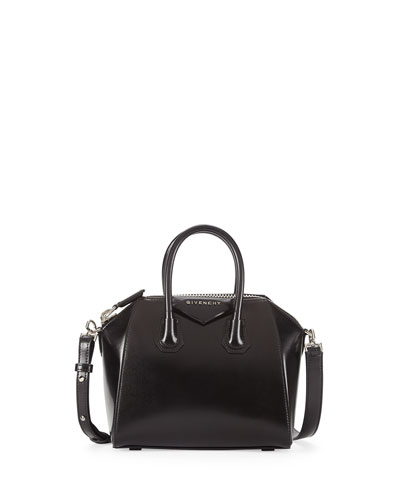 Antigona Mini Box Calf Leather Satchel Bag, Black