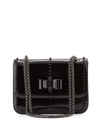 Sweet Charity Patent Spike Shoulder Bag, Black