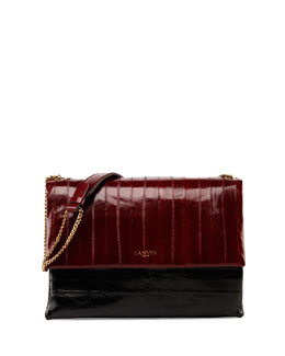 Sugar Eel Medium Shoulder Bag, Burgundy/Black