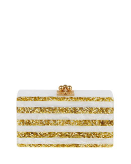 Jean Striped Acrylic Confetti Clutch Bag