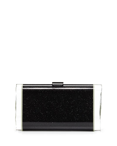 Lara Backlit Acrylic Clutch Bag, Obsidian Sand