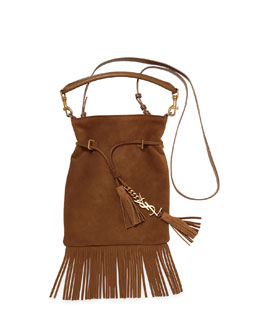 Monogramme Suede Tassel Fringe Bucket Bag