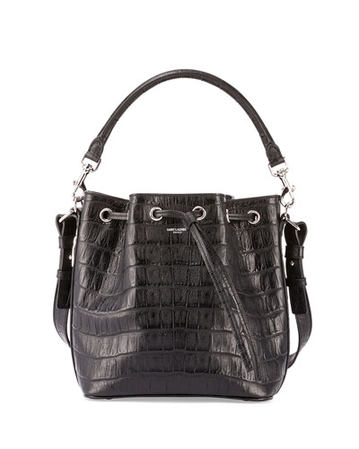 Emmanuelle Croc-Embossed Bucket Bag
