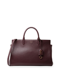 Monogramme Leather East-West Tote Bag, Burgundy