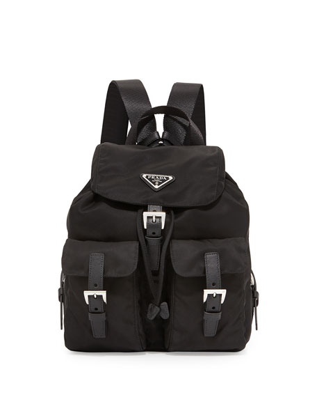 e0923fa827ec Prada Vela Small Nylon Backpack, Black (Nero)