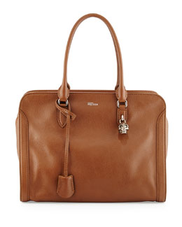 Padlock Zip-Around Satchel Bag, Cognac