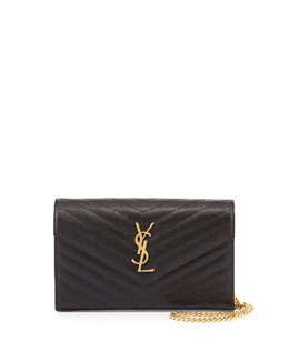 Monogramme Matelasse Wallet-on-a-Chain, Black
