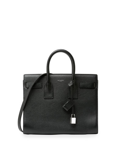 Sac de Jour Leather Small Carryall Bag, Black