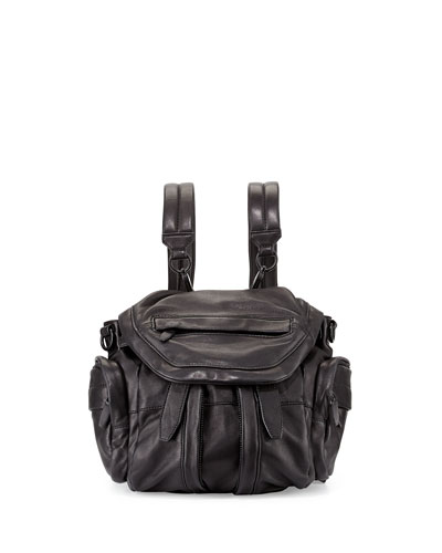Marti Mini Zip-Trimmed Leather Backpack, Black