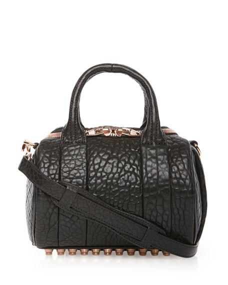 Mini Rockie Satchel Bag w/Rose-Golden Hardware, Black