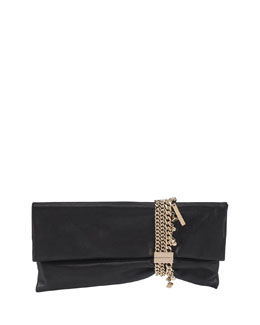 Chandra Suede Charm Clutch Bag