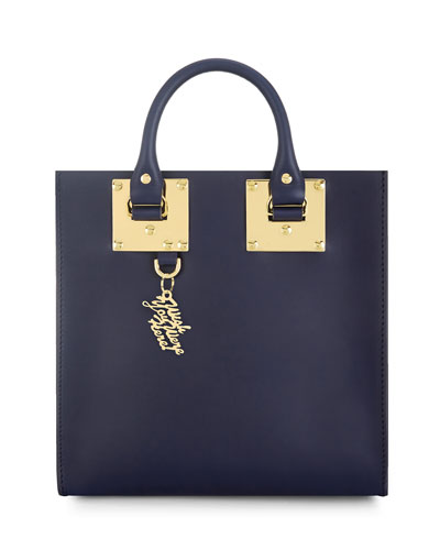 Albion Square Tote Bag with Charm, French Navy