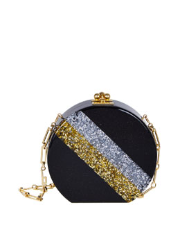 Oscar Diagonal Striped Circle Clutch Bag
