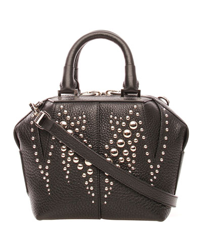 Emile Mini Studded Leather Satchel Bag, Black