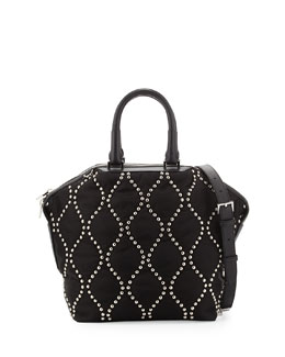 Emile Studded Nylon Small Tote Bag