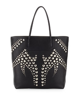 Prisma Studded Pebbled Leather Tote Bag