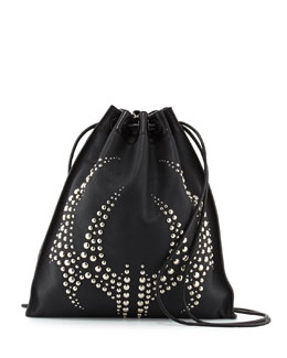 Studded Pebbled Leather Gym Sack Bag, Black