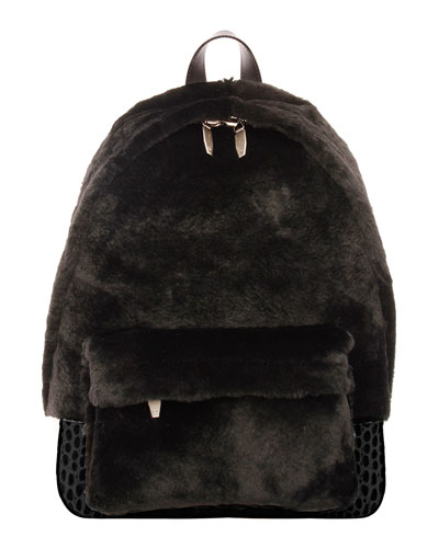 Shearling & Croc-Embossed Leather Backpack