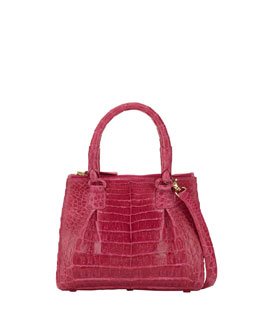 Crocodile Mini Double-Zip Crossbody Bag