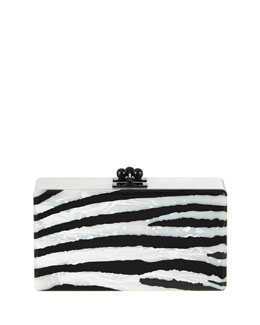 Jean Zebra Striped Acrylic Clutch Bag