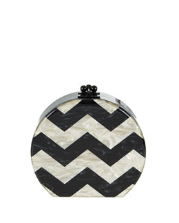 Oscar Round Chevron Acrylic Clutch Bag